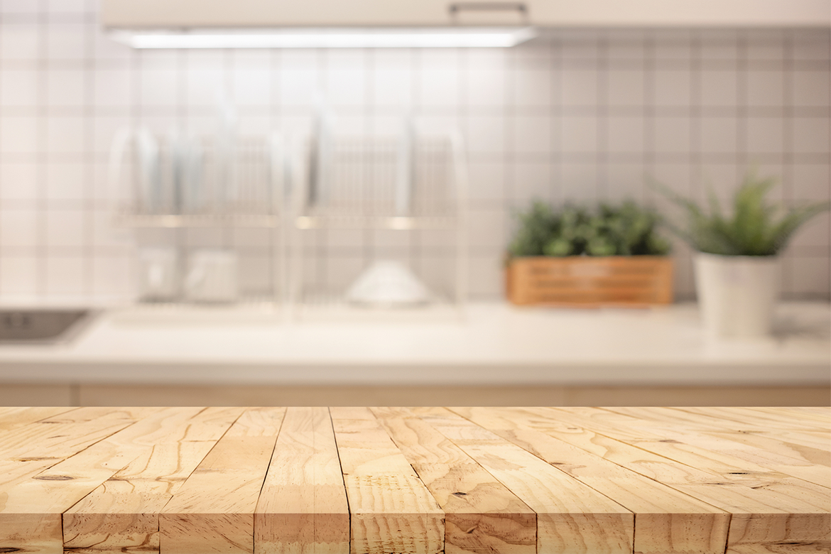 Wooden butcher's block countertop in an earth-friendly home